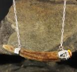 Amber & Deer Antler Necklace