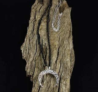 Black Tourmaline 'Moon' Necklace