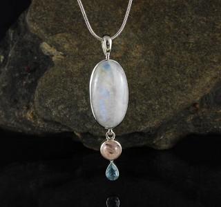 Rainbow Moonstone & Morganite & Blue Topaz Pdt Lge