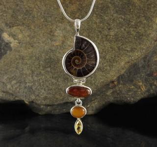Ammonite & Hessonite Garnet & Amber & Citrine Pdt Lge
