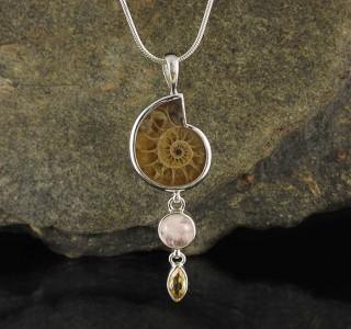 Ammonite & Morganite & Citrine Pdt Med