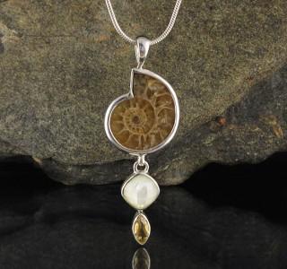 Ammonite & Mother of Pearl & Citrine Pdt Med
