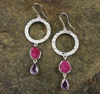 Ruby & Amethyst Earring