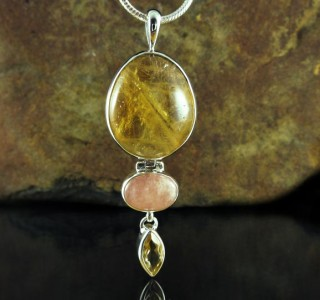 Citrine & Morganite Pendant Lge