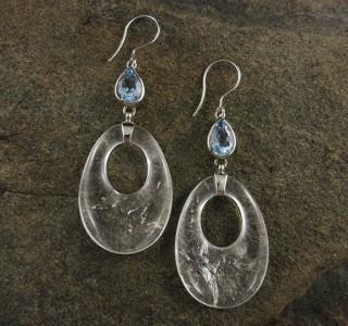 Blue Topaz & Clear Quartz Earrings