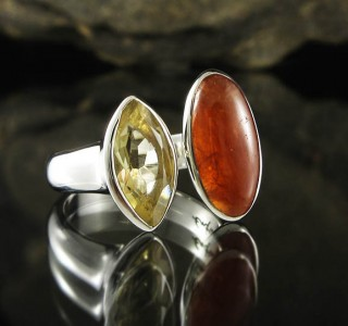 Citrine & Hessonite Garnet Ring