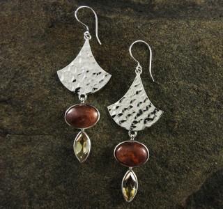 Citrine & Hessonite Garnet Earrings