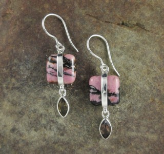 Rhodonite & Smoky Quartz Earrings