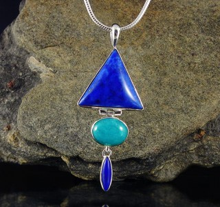 Lapis Lazuli & Amazonite Pendant Lge
