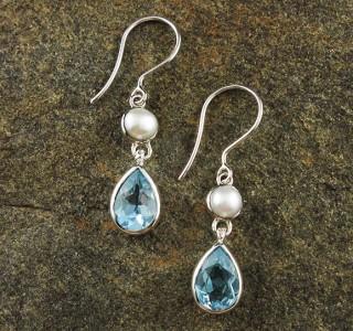 Pearl & Blue Topaz Earrings