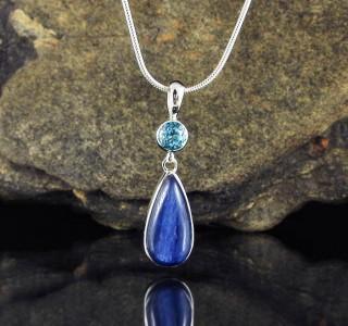 Blue Topaz & Kyanite Pendant Med