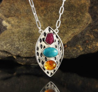 Ruby & Turquoise & Amber Necklace