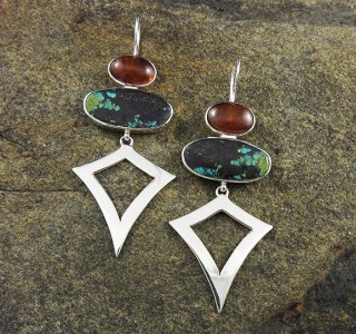 Hessonite Garnet & Turquoise Earrings
