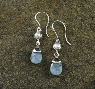 Pearl & Aquamarine Earrings
