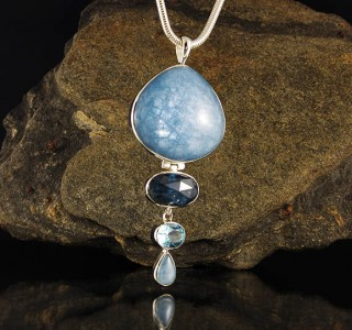 Aquamarine & 'Ocean' Kyanite & Blue Topaz Pdt Lge