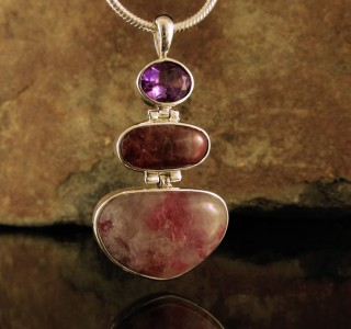 Amethyst & Pink Tourmaline with Lepidolite Pdt Lge